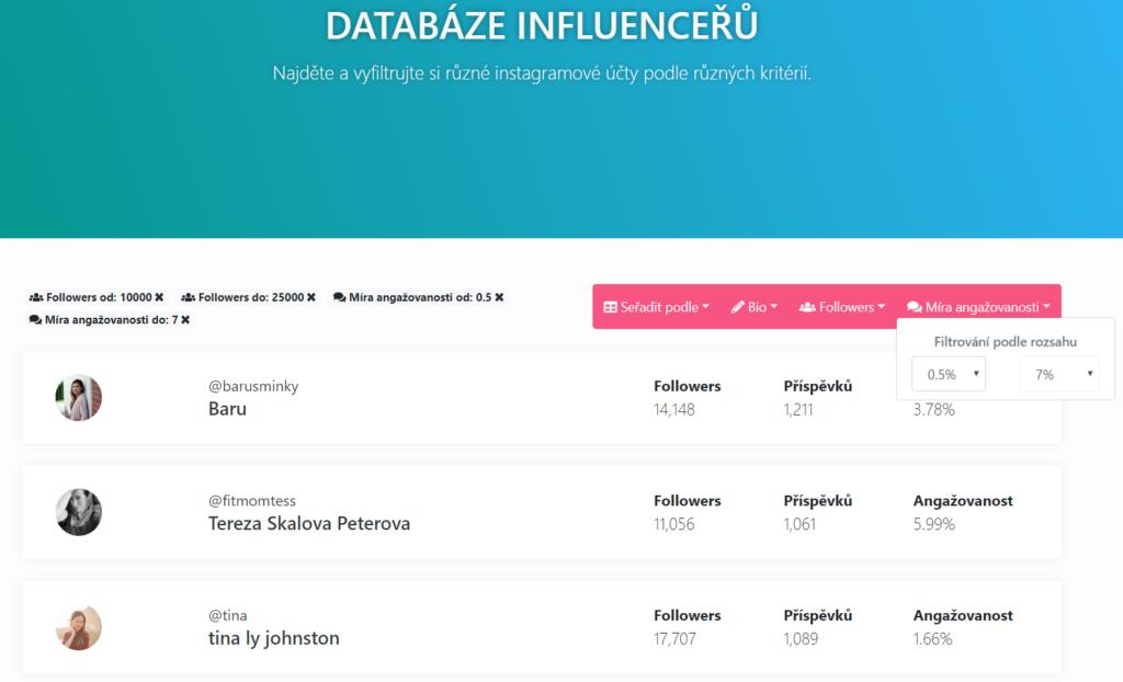 databáza influencerov